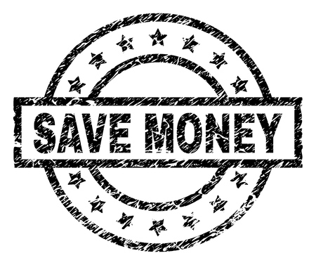 SAVE MONEY stamp seal watermark with distress style. Designed with rectangle, circles and stars. Black vector rubber print of SAVE MONEY title with retro texture.