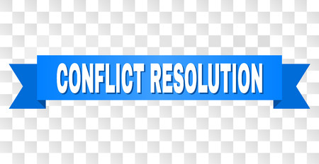 CONFLICT RESOLUTION text on a ribbon. Designed with white title and blue stripe. Vector banner with CONFLICT RESOLUTION tag on a transparent background.