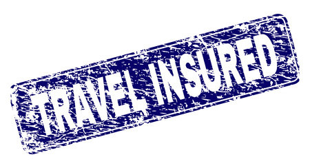 TRAVEL INSURED stamp seal print with distress style. Seal shape is a rounded rectangle with frame. Blue vector rubber print of TRAVEL INSURED caption with scratched style.
