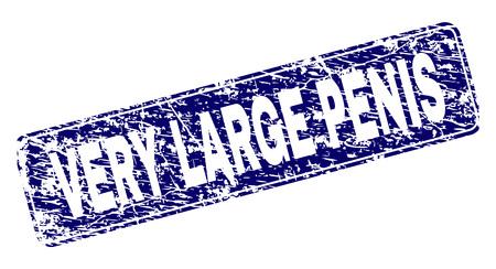SEHR GROßER PENIS-Stempelsiegeldruck im Grunge-Stil. Siegelform ist ein abgerundetes Rechteck mit Rahmen. Blauer Vektorgummidruck von SEHR GROßEM PENIS-Text mit Grunge-Stil.
