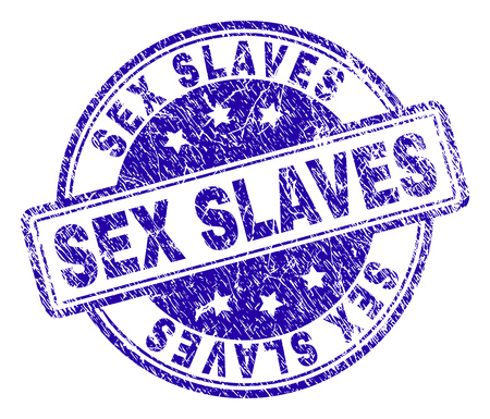 SEX SLAVES stamp seal imprint with distress texture. Designed with rounded rectangles and circles. Blue vector rubber print of SEX SLAVES title with grunge texture.