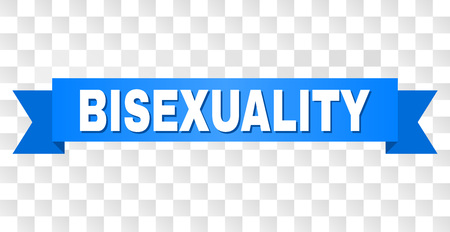 BISEXUALITY text on a ribbon. Designed with white title and blue stripe. Vector banner with BISEXUALITY tag on a transparent background.