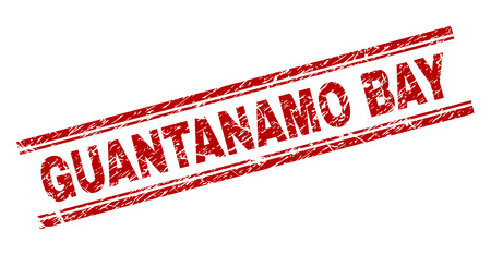 GUANTANAMO BAY seal print with grunge style. Red vector rubber print of GUANTANAMO BAY tag with grunge texture. Text caption is placed between double parallel lines.