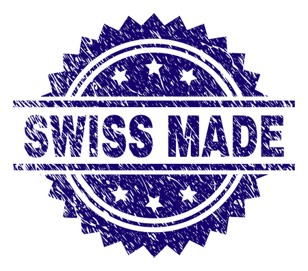 SWISS MADE stamp seal watermark with distress style. Blue vector rubber print of SWISS MADE title with corroded texture.