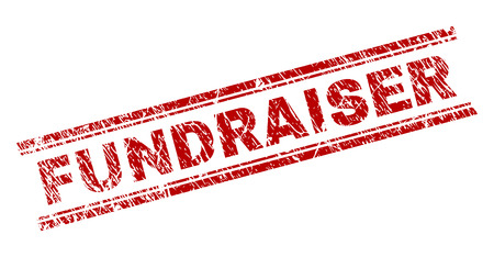 FUNDRAISER seal print with grunge texture. Red vector rubber print of FUNDRAISER text with corroded texture. Text caption is placed between double parallel lines.