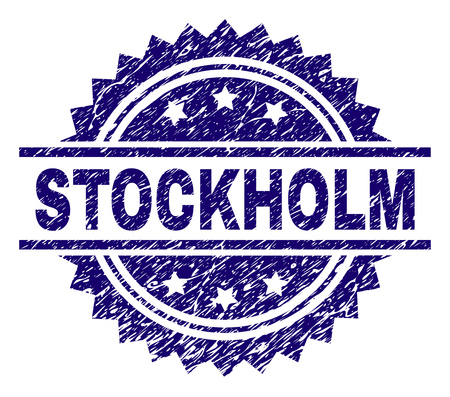 STOCKHOLM stamp seal watermark with distress style. Blue vector rubber print of STOCKHOLM text with grunge texture.