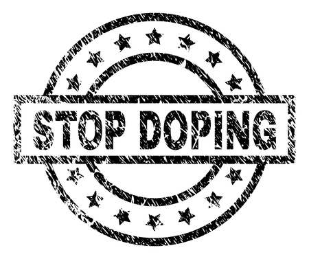 STOP DOPING stamp seal watermark with distress style. Designed with rectangle, circles and stars. Black vector rubber print of STOP DOPING label with retro texture.