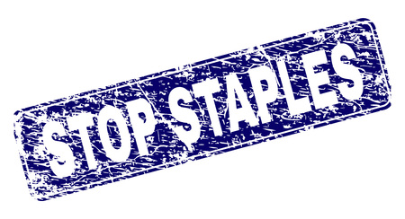 STOP STAPLES stamp seal print with grunge style. Seal shape is a rounded rectangle with frame. Blue vector rubber print of STOP STAPLES text with corroded style.