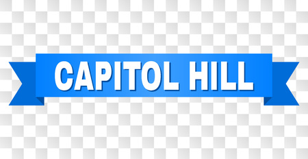 CAPITOL HILL text on a ribbon. Designed with white title and blue stripe. Vector banner with CAPITOL HILL tag on a transparent background.