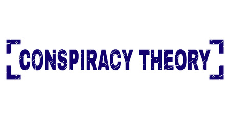 CONSPIRACY THEORY title seal print with distress texture. Text title is placed inside corners. Blue vector rubber print of CONSPIRACY THEORY with dirty texture.