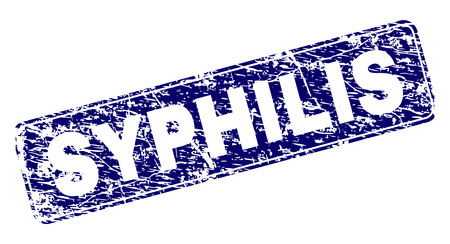 SYPHILIS stamp seal print with distress texture. Seal shape is a rounded rectangle with frame. Blue vector rubber print of SYPHILIS title with dirty texture.