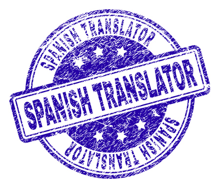 SPANISH TRANSLATOR stamp seal watermark with grunge texture. Designed with rounded rectangles and circles. Blue vector rubber print of SPANISH TRANSLATOR text with unclean texture.