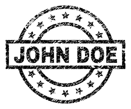 JOHN DOE stamp seal watermark with distress style. Designed with rectangle, circles and stars. Black vector rubber print of JOHN DOE title with scratched texture.