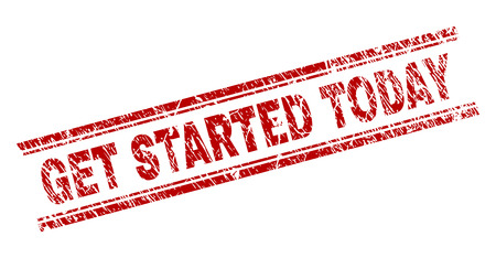 GET STARTED TODAY seal print with distress texture. Red vector rubber print of GET STARTED TODAY title with scratched texture. Text tag is placed between double parallel lines.