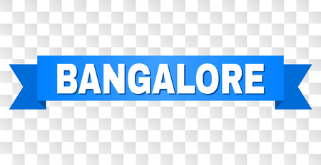 BANGALORE text on a ribbon. Designed with white caption and blue tape. Vector banner with BANGALORE tag on a transparent background.