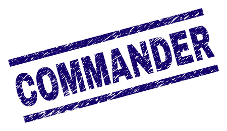 COMMANDER seal print with distress style. Blue vector rubber print of COMMANDER text with scratched texture. Text label is placed between parallel lines.