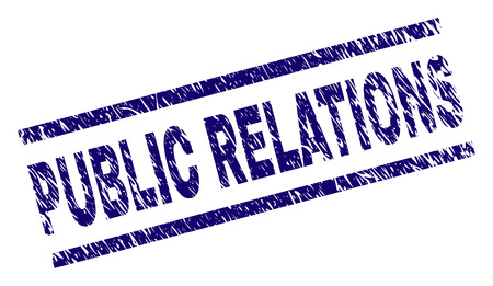 PUBLIC RELATIONS seal print with grunge style. Blue vector rubber print of PUBLIC RELATIONS text with unclean texture. Text tag is placed between parallel lines.