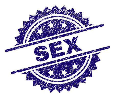 SEX stamp seal watermark with distress style. Blue vector rubber print of SEX caption with dirty texture. Illustration