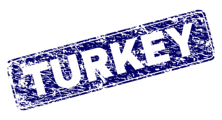 TURKEY stamp seal print with distress texture. Seal shape is a rounded rectangle with frame. Blue vector rubber print of TURKEY label with grunge texture.