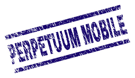 PERPETUUM MOBILE seal watermark with grunge style. Blue vector rubber print of PERPETUUM MOBILE caption with unclean texture. Text caption is placed between parallel lines. Stock Illustratie