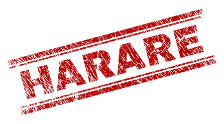 HARARE seal stamp with grunge style. Red vector rubber print of HARARE text with grunge texture. Text title is placed between double parallel lines.