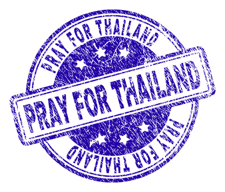 PRAY FOR THAILAND stamp seal watermark with grunge texture. Designed with rounded rectangles and circles. Blue vector rubber print of PRAY FOR THAILAND caption with dirty texture.