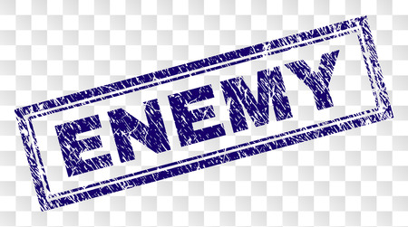 ENEMY stamp seal imprint with rubber print style and double framed rectangle shape. Stamp is placed on a transparent background. Blue vector rubber print of ENEMY label with unclean texture.