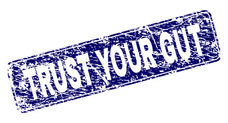 TRUST YOUR GUT stamp seal print with distress texture. Seal shape is a rounded rectangle with frame. Blue vector rubber print of TRUST YOUR GUT tag with scratched texture. Illustration