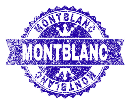 MONTBLANC rosette stamp seal watermark with grunge style. Designed with round rosette, ribbon and small crowns. Blue vector rubber print of MONTBLANC title with grunge style.