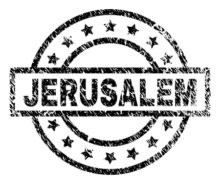 JERUSALEM stamp seal watermark with distress style. Designed with rectangle, circles and stars. Black vector rubber print of JERUSALEM caption with unclean texture. Imagens - 115368691