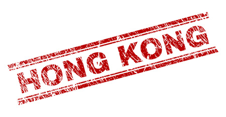 HONG KONG seal stamp with distress texture. Red vector rubber print of HONG KONG text with corroded texture. Text tag is placed between double parallel lines.