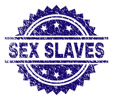 SEX SLAVES stamp seal watermark with distress style. Blue vector rubber print of SEX SLAVES tag with scratched texture.