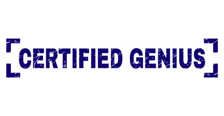 CERTIFIED GENIUS text seal print with grunge texture. Text tag is placed inside corners. Blue vector rubber print of CERTIFIED GENIUS with dirty texture. Vektorové ilustrace