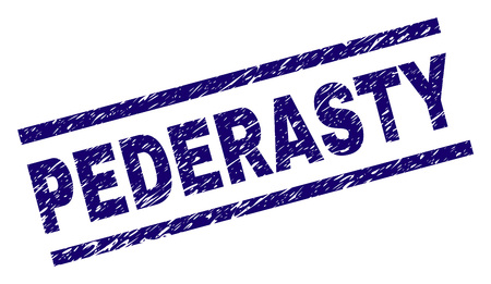 PEDERASTY seal print with distress style. Blue vector rubber print of PEDERASTY text with scratched texture. Text label is placed between parallel lines.