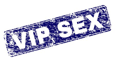 VIP SEX stamp seal print with grunge style. Seal shape is a rounded rectangle with frame. Blue vector rubber print of VIP SEX text with corroded style.