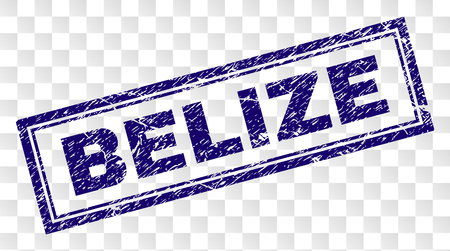BELIZE stamp seal print with grunge style and double framed rectangle shape. Stamp is placed on a transparent background. Blue vector rubber print of BELIZE text with grunge texture.