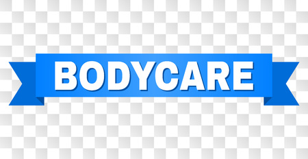 BODYCARE text on a ribbon. Designed with white caption and blue stripe. Vector banner with BODYCARE tag on a transparent background.