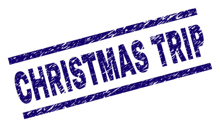 CHRISTMAS TRIP seal print with scratced style. Blue vector rubber print of CHRISTMAS TRIP caption with unclean texture. Text caption is placed between parallel lines. Banque d'images - 126165385