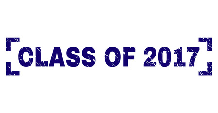 CLASS OF 2017 tag seal imprint with corroded texture. Text tag is placed between corners. Blue vector rubber print of CLASS OF 2017 with retro texture.