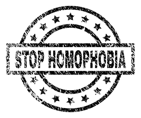 STOP HOMOPHOBIA stamp seal watermark with distress style. Designed with rectangle, circles and stars. Black vector rubber print of STOP HOMOPHOBIA title with dirty texture.