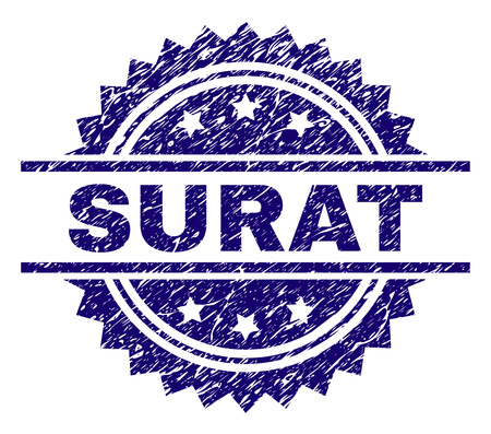 SURAT stamp seal watermark with distress style. Blue vector rubber print of SURAT caption with scratched texture. Illustration