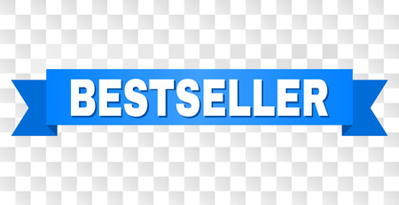 BESTSELLER text on a ribbon. Designed with white title and blue tape. Vector banner with BESTSELLER tag on a transparent background.
