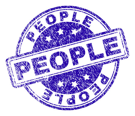 PEOPLE stamp seal watermark with distress texture. Designed with rounded rectangles and circles. Blue vector rubber print of PEOPLE title with unclean texture.