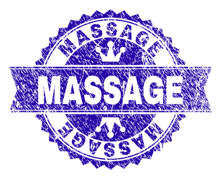 MASSAGE rosette seal watermark with distress texture. Designed with round rosette, ribbon and small crowns. Blue vector rubber watermark of MASSAGE text with dirty texture.