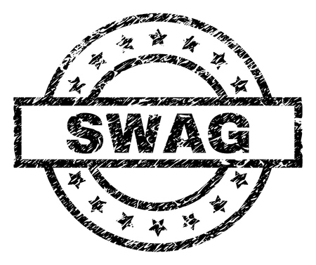 SWAG stamp seal watermark with distress style. Designed with rectangle, circles and stars. Black vector rubber print of SWAG text with unclean texture.