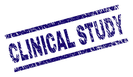 CLINICAL STUDY seal print with distress style. Blue vector rubber print of CLINICAL STUDY label with retro texture. Text tag is placed between parallel lines.