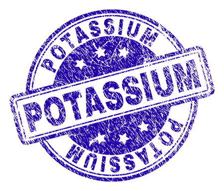 POTASSIUM stamp seal watermark with grunge texture. Designed with rounded rectangles and circles. Blue vector rubber print of POTASSIUM text with dirty texture.