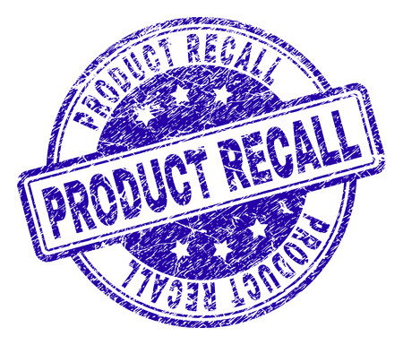 PRODUCT RECALL stamp seal watermark with grunge texture. Designed with rounded rectangles and circles. Blue vector rubber print of PRODUCT RECALL label with dust texture.