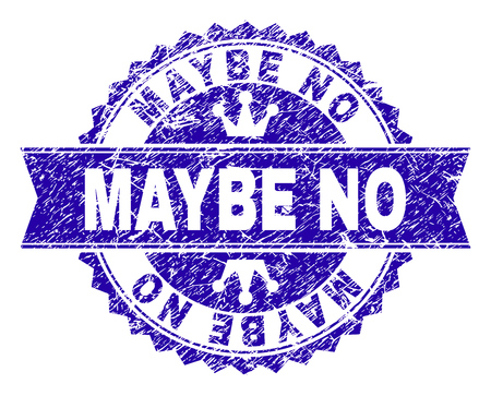 MAYBE NO rosette seal watermark with distress texture. Designed with round rosette, ribbon and small crowns. Blue vector rubber watermark of MAYBE NO caption with dirty texture.