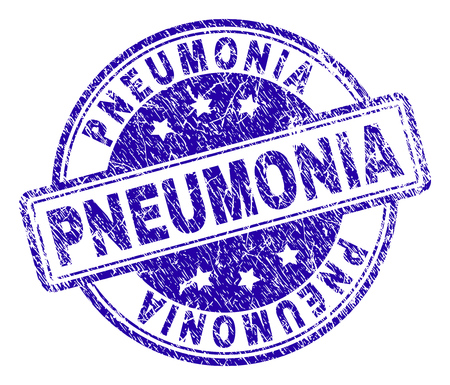 PNEUMONIA stamp seal watermark with grunge texture. Designed with rounded rectangles and circles. Blue vector rubber print of PNEUMONIA caption with grunge texture.